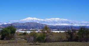 View of snow capped mountains from Sycamore Canyon Preserve.